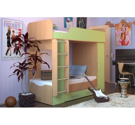 Двухъярусная кровать Карлсон с шкафом (Дуэт 2), верхнее спальное место 2000*800, нижнее 1870*800 мм...