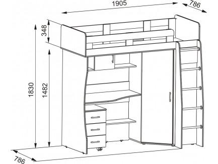 Кровать-чердак Карлсон М1 (арт. 14.710+14.710.06+14.301) со столешницей и тумбой, спальное место кровати 1860*700 мм.