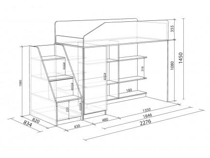 Кровать-чердак Легенда-11.5, спальное место 180х80 см