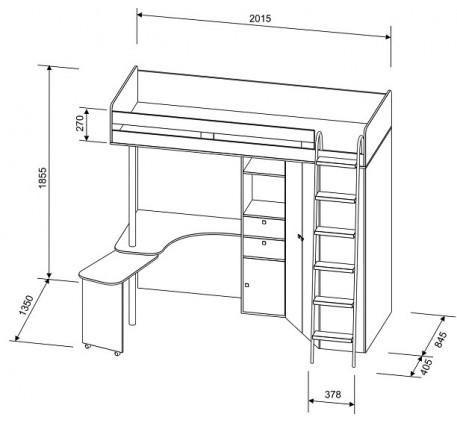 Кровать-чердак М-85