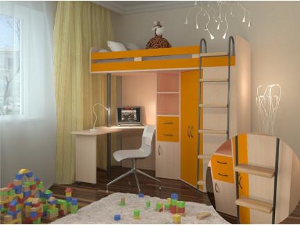 Кровать-чердак со столом и шкафом М-85, спальное место 195х80 см