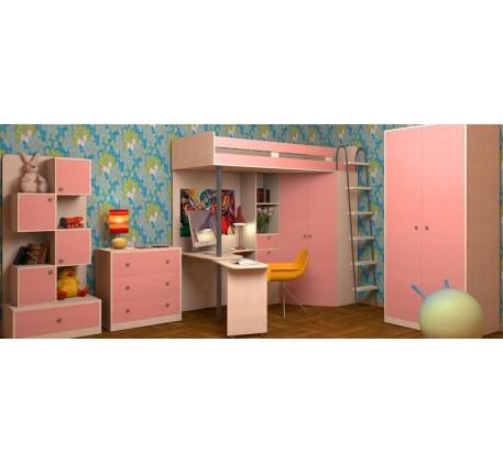 Детская мебель М-85: Кровать-чердак, Шкаф, Стеллаж, Комод