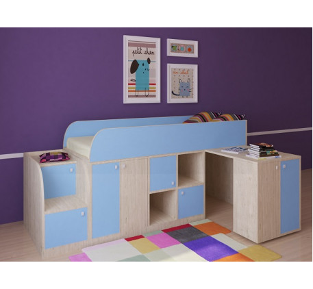Кровать-чердак для мальчика Астра-Мини со столом, спальное место 190х80 см