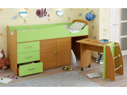 Детская кровать-чердак Карлсон Мини-5 с мобильным столом (арт. 15.7.005), спальное место кровати 1860*700 мм.