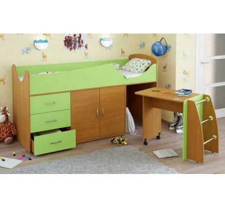 Детская кровать-чердак Карлсон Мини-5 с мобильным столом (арт. 15.7.005), спальное место кровати 186..