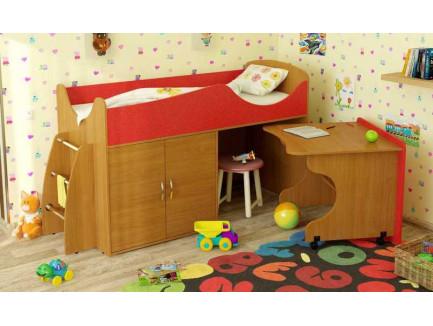 Детская кровать-чердак Карлсон Микро-202 с мобильным столом (арт. 15.8.202), спальное место кровати 1600*700 мм.