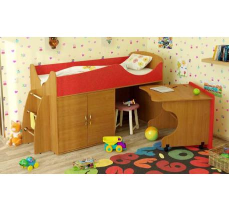 Детская кровать-чердак Карлсон Микро-202 с мобильным столом (арт. 15.8.202), спальное место кровати ..