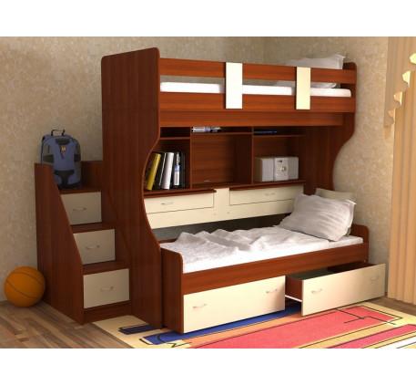 Двухъярусная кровать Дуэт-4 с выдвижными нижним спальным местом и двумя столами