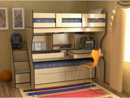 Двухъярусная выкатная кровать Дуэт-4 с выдвижными нижним спальным местом и двумя столами