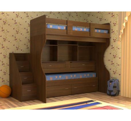 Детская выдвижная кровать Дуэт-4 с выкатным нижним спальным местом и двумя столами