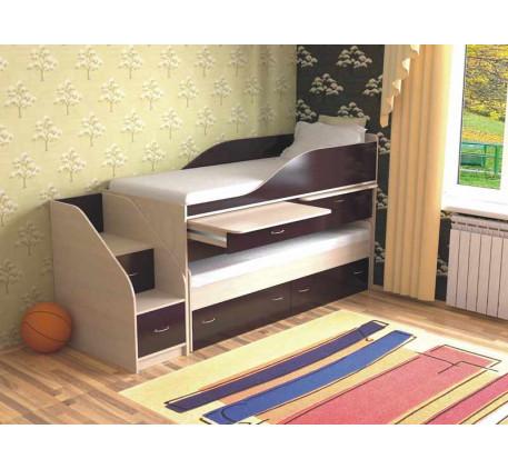 Двухъярусная выдвижная кровать Дуэт-8 для двоих детей с выкатным спальным местом и столами