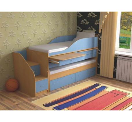 Выдвижная кровать Дуэт-8 для двоих детей с выкатным спальным местом и столами