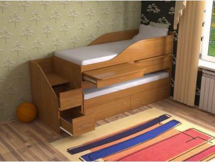 Кровать с выдвижным спальным местом Дуэт-8 для двоих детей с выдвижыми столами