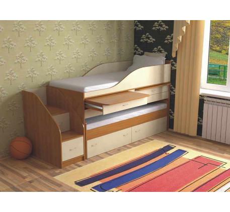 Детская выдвижная кровать для двоих детей Дуэт-8 с выкатным спальным местом и столами