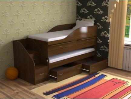 Детская выкатная кровать для двоих детей Дуэт-8 с выдвижным спальным местом и столами