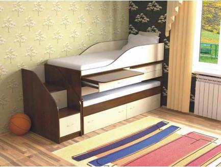 Выкатная кровать для двоих детей Дуэт-8 с выдвижным спальным местом и столами