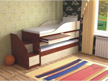 Двухъярусная выкатная кровать Дуэт-8 для двоих детей с выдвижным спальным местом и столами