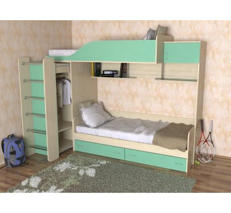 Двухъярусная кровать со шкафом-трансформером Дуэт-3