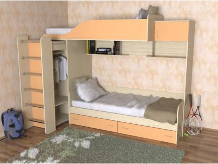 Детская двухъярусная кровать со шкафом Дуэт-3