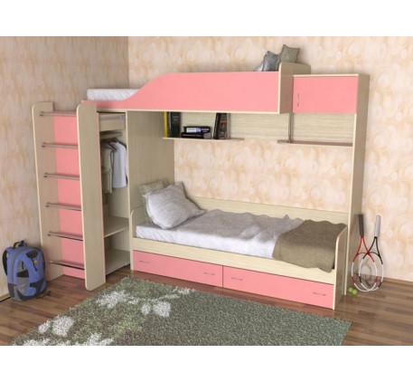 Двухъярусная кровать со шкафом для девочек Дуэт-3