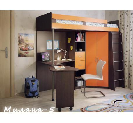 Детская кровать-чердак с рабочей зоной Милана-5, спальное место 200х80 см