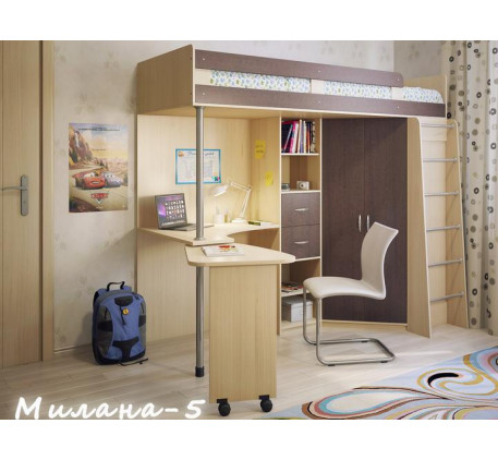 Кровать-чердак для подростка-школьника Милана-5, спальное место 200х80 см