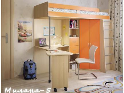 Кровать Милана-5 с рабочей зоной и шкафом, спальное место 200х80 см