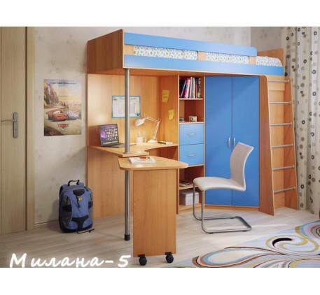 Детская кровать-чердак со столом и шкафом Милана-5, спальное место 200х80 см