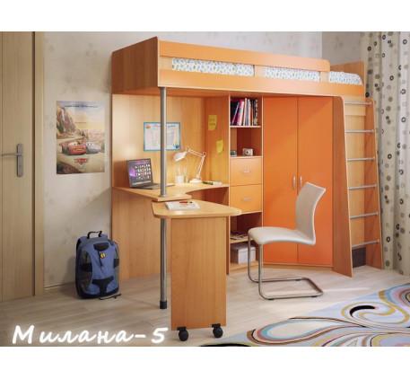 Кровать-чердак для подростка Милана-5 с рабочей зоной, спальное место 200х80 см