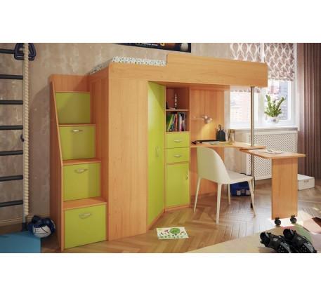 Кровать-чердак со столом и шкафом Милана-6, спальное место 200х80 см