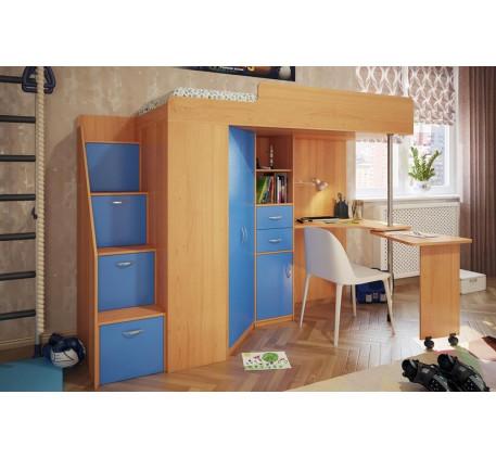 Кровать-чердак с рабочей зоной для мальчика Милана-5, спальное место 200х80 см