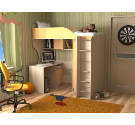 Кровать-чердак Квартет-2 с лестницей хром, спальное место кровати 190х80 см