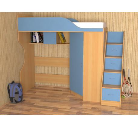 Кровать-чердак Квартет-2 без стола, спальное место 190х80 см