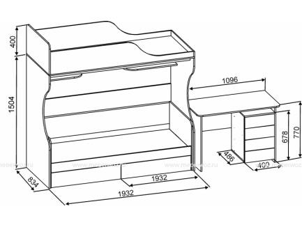 Двухъярусная кровать Дуэт-5 со столом