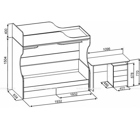 Детская двухъярусная кровать-чердак Дуэт-5 («Славмебель»)