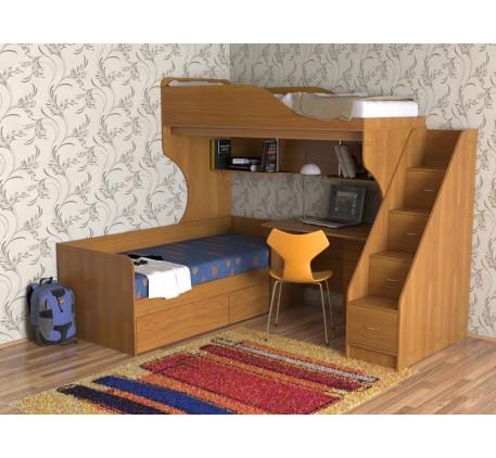 Кровать-чердак с кроватью внизу Дуэт-5 с лестницей с ящиками