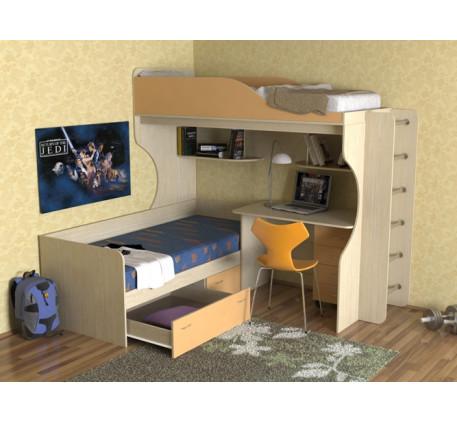Кровать-чердак с кроватью внизу Дуэт-5 с металлической лестницей
