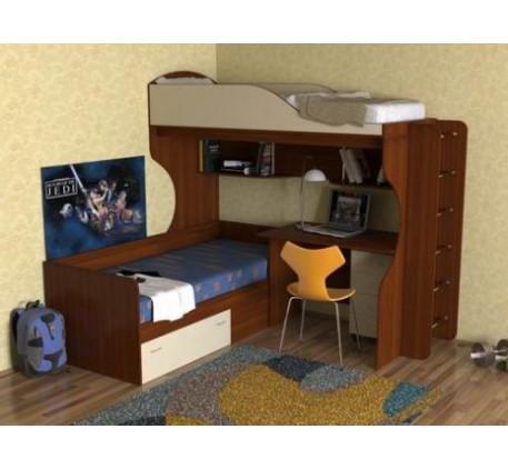 Кровать Дуэт-5 двухъярусная с металлической лестницей