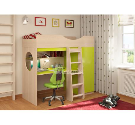 Кровать-чердак Легенда-9.1 со столом и шкафом, спальное место 180х80 см