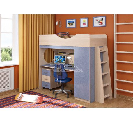 Кровать-чердак с рабочей зоной для мальчика Легенда-9.2, спальное место 180х80 см