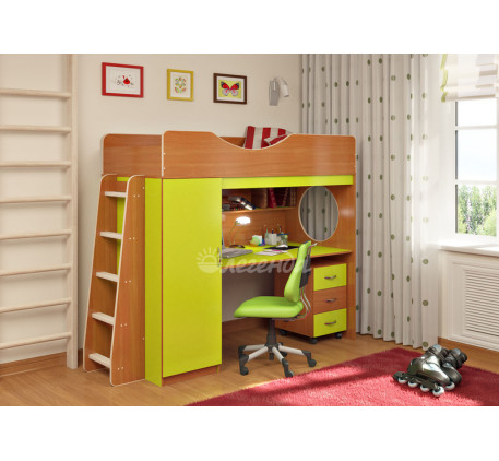 Кровать-чердак с рабочей зоной от 3 лет Легенда-9.2, спальное место 180х80 см