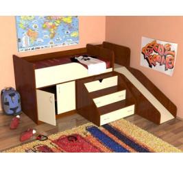 Кровать-чердак Кузя с детской горкой («Славмебель»)