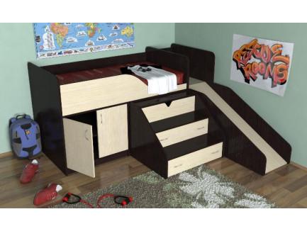 Кровать-чердак с горкой Кузя, спальное место 160х80 см