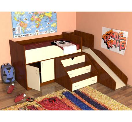 Детская кровать-чердак с горкой Кузя, спальное место 160х80 см
