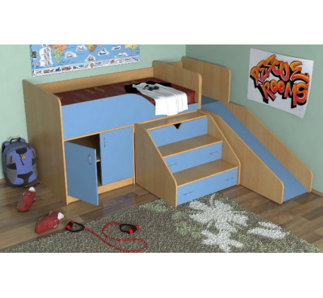 Детская кровать с горкой Кузя, спальное место 160х80 см