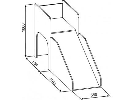 Кровать-чердак с горкой Кузя-4, спальное место 190х80 см