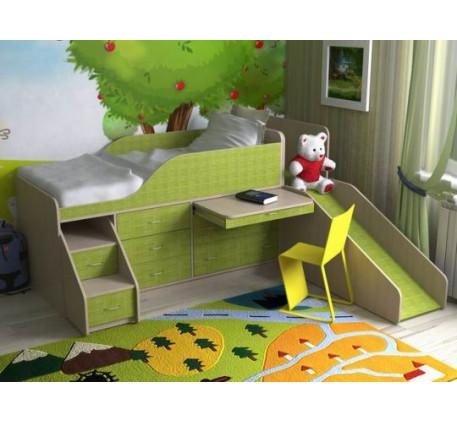 Детская кровать с горкой Кузя-4, спальное место 190х80 см