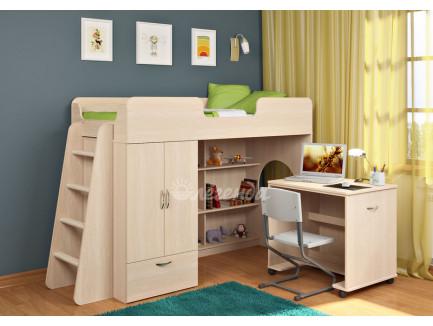 Детская кровать-чердак Легенда-3.2 со столом Л-02, спальное место 180х80 см