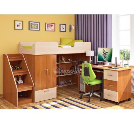 Кровать-чердак Легенда-3.3 со столом Л-01 и лестницей ЛУ-11, спальное место 180х80 см