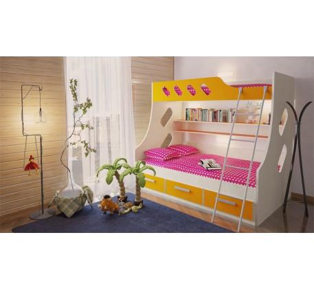 Двухъярусная кровать Орбита-16. Спальные места кровати: 1900*800 мм. (верхнее), 1900*1200 мм. (нижне..